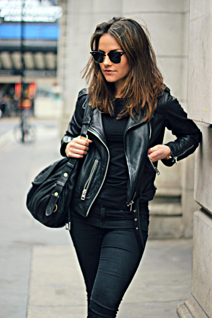 c97bc615848 Via Just The Design  Amy Spencer is wearing a black All Saints leather jacket  with