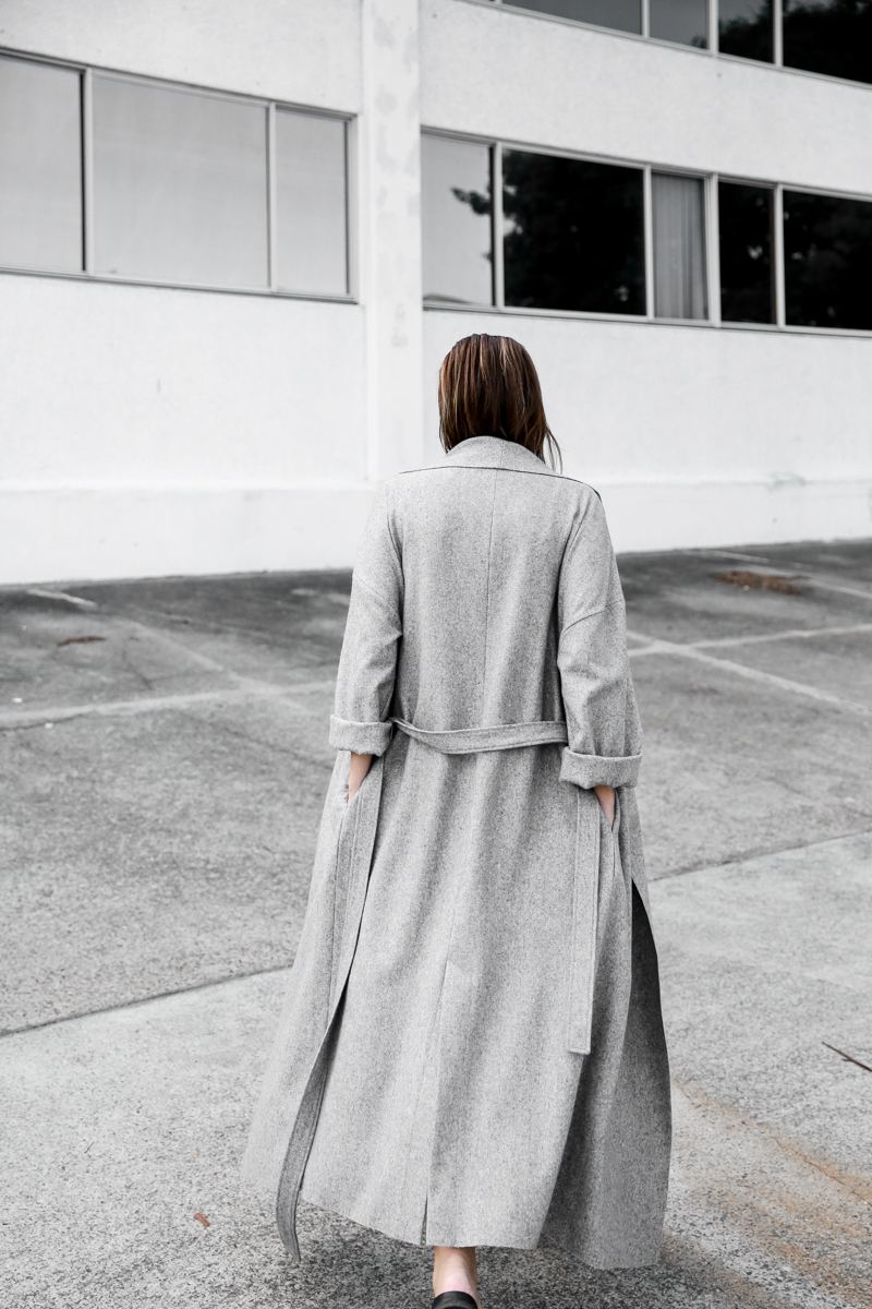 How To Wear A Long Coat: Kaitlyn Ham is wearing an ash grey Modern maxi coat