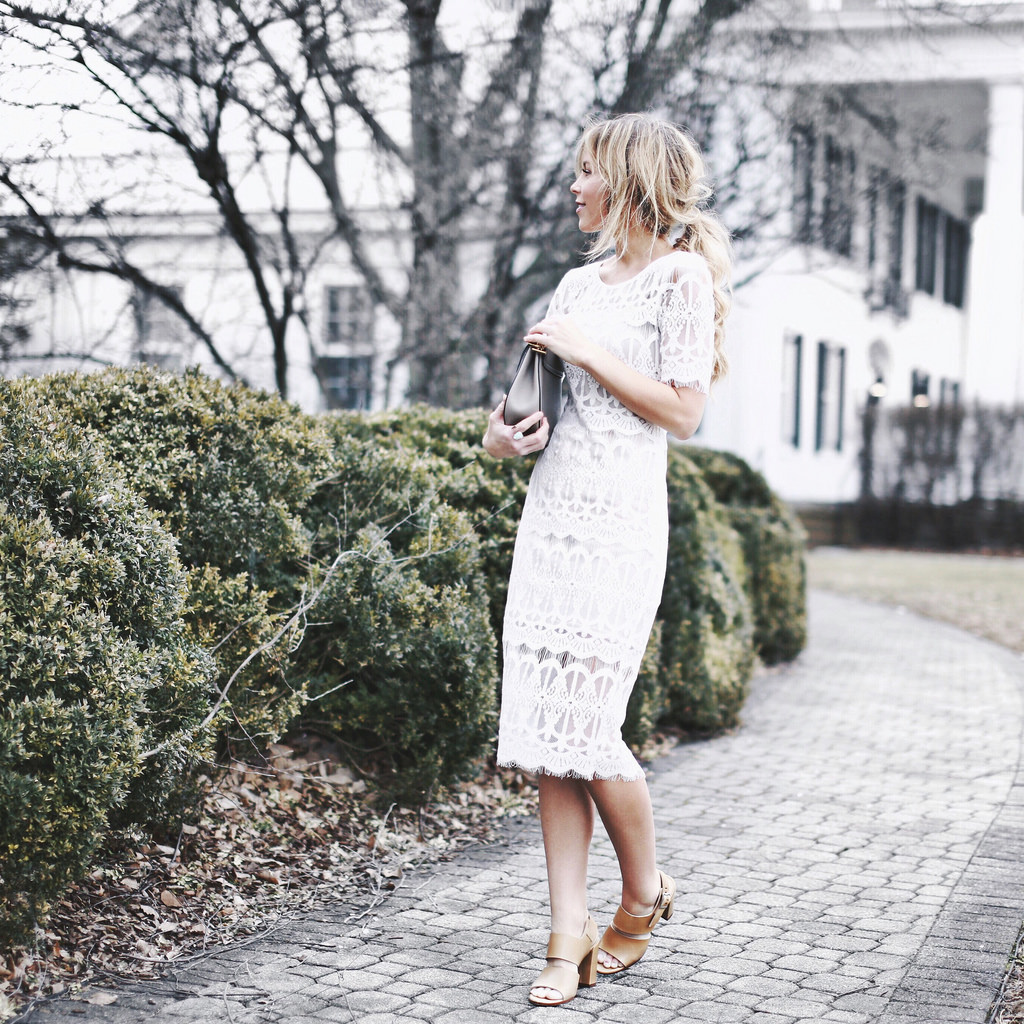 Street Style, March 2015: Mary is wearing a white lace Nordstrom dress with camel Dune sandals