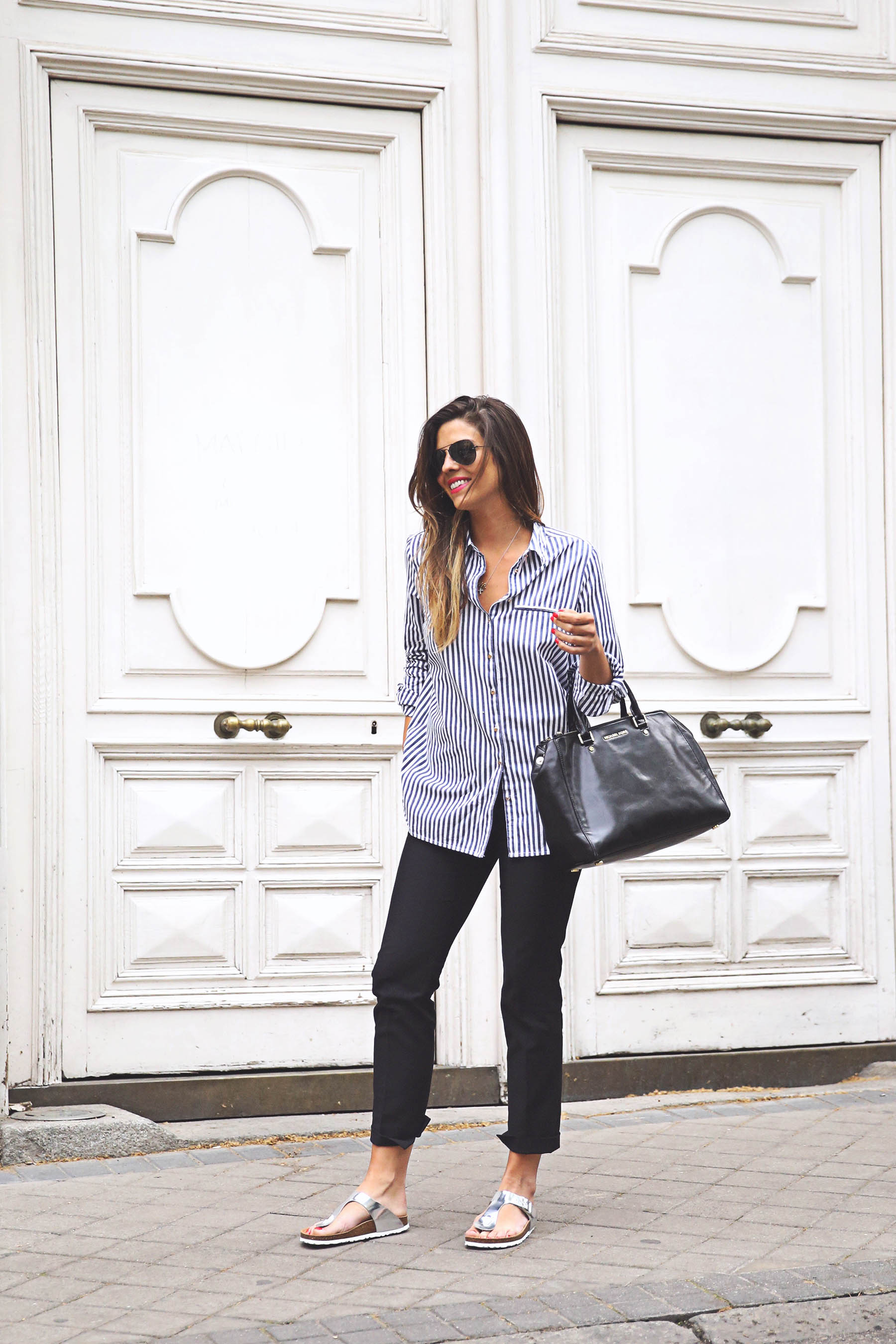 Striped Outfits 2015: Natalia Cabezas is wearing a navy Asos striped shirt