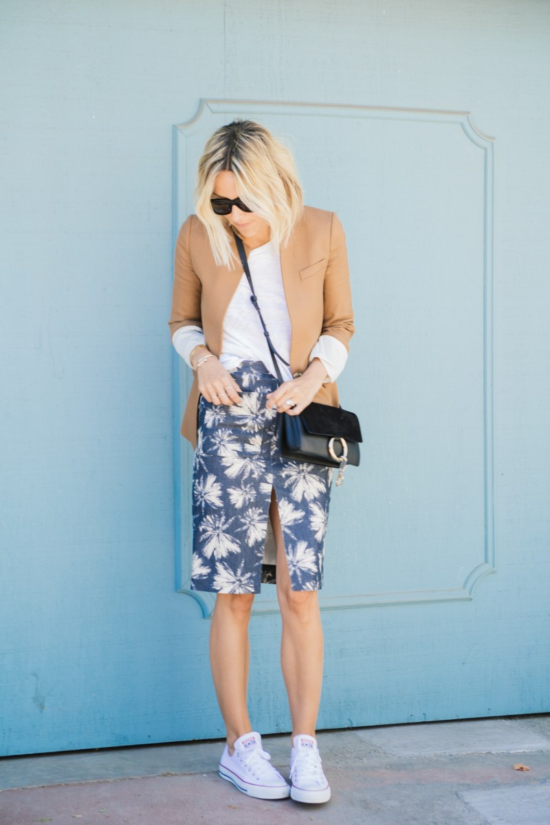 High Slit Midi Skirt: Jacey Duprie is wearing a L'Agence palm print midi skirt
