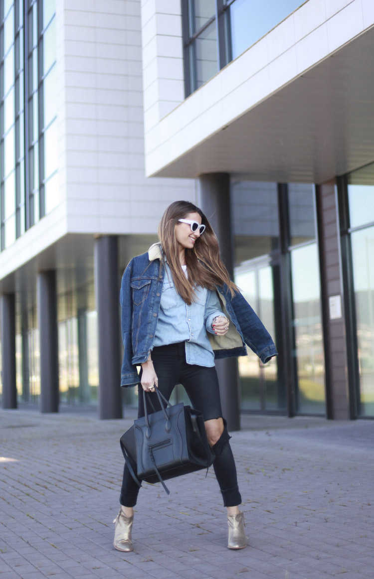 Silvia Zamora is wearing a dark denim Levi jacket with a sheepskin collar