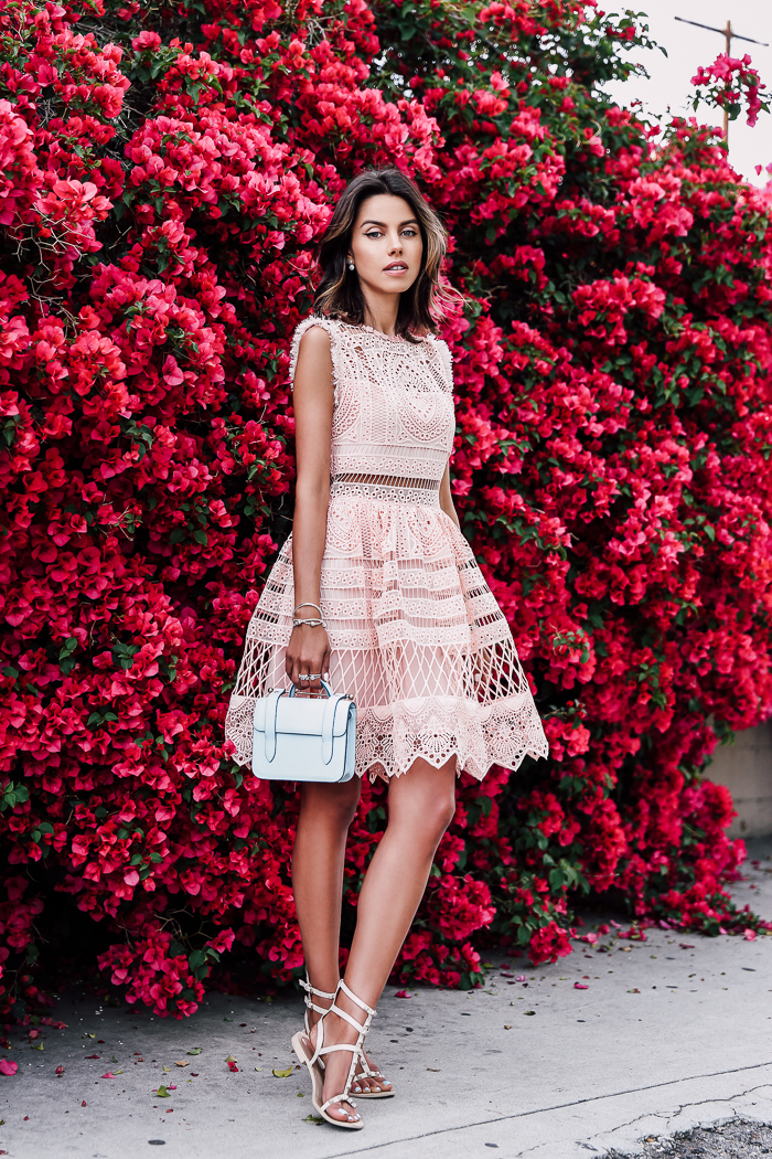 This dress is the perfect combination of two awesome trends; the blush pink trend and the lace trend! The intricacies of this lace detailing make for a truly feminine look which we love! Via Annabelle Fleur. Dress: Alexis.