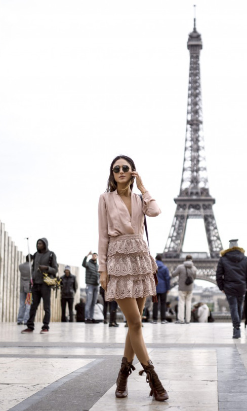 Soraya Bakhtiar is totally owning the blush pink trend in this ultra feminine lace skirt and silky blouse combination. Pair this look with lace up leather boots and a pair of shades to steal Soraya's style! Top: Mason, Skirt: Self-Portrait, Coat: Zara, Bag/Boots: Chloe.