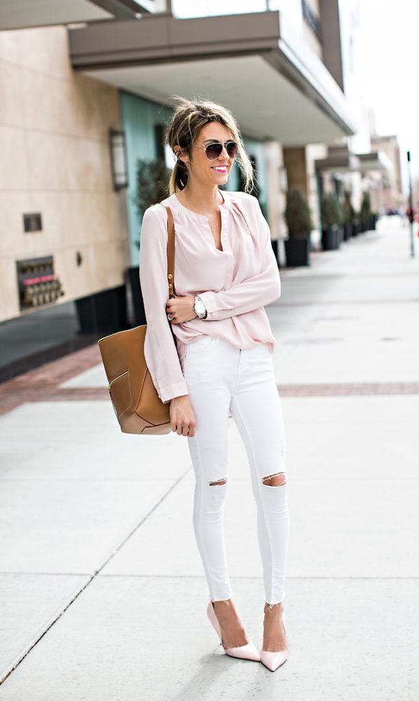Christine Andrew is wearing a blush pink top and shoes from Harlowe and Graham and Kurt Geiger respectively