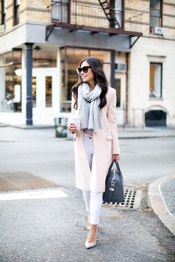 Kat Tanita is wearing a blush pink coat from Zara