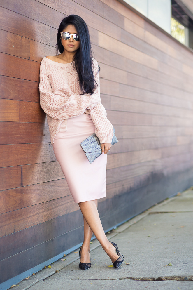 Sheryl Luke is wearing a blush pink outfit, top from H&M and the skirt is from Missguided