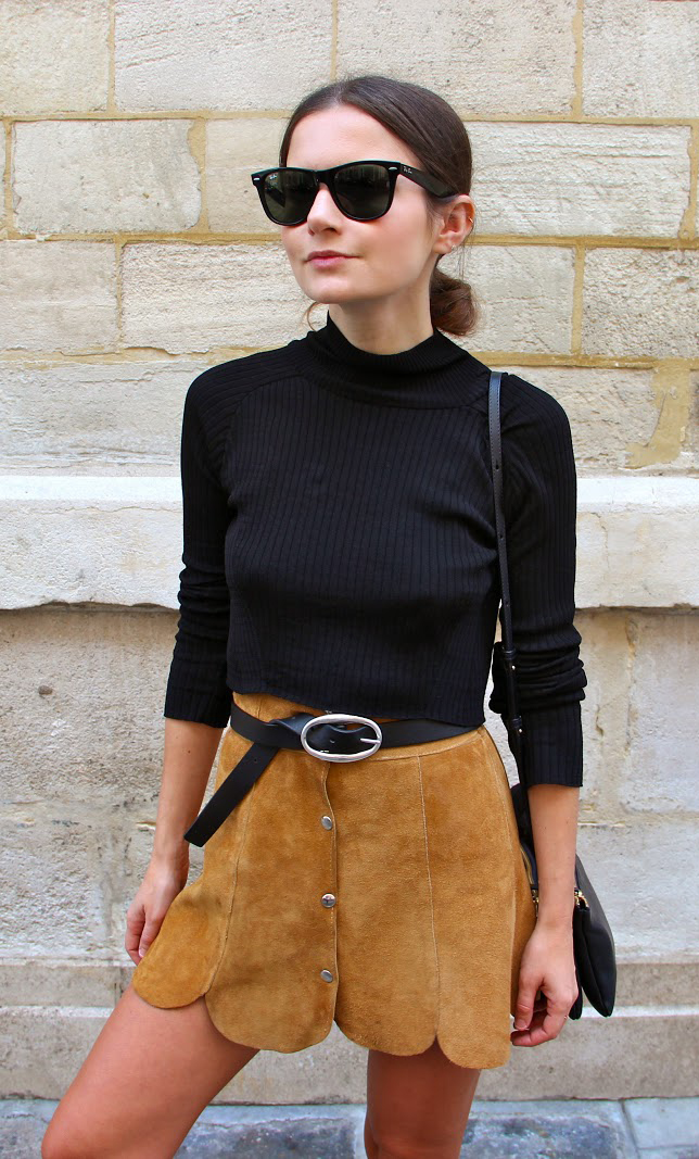 Button Fronted Skirt Trend: Marta Cygan is wearing a vintage suede skirt