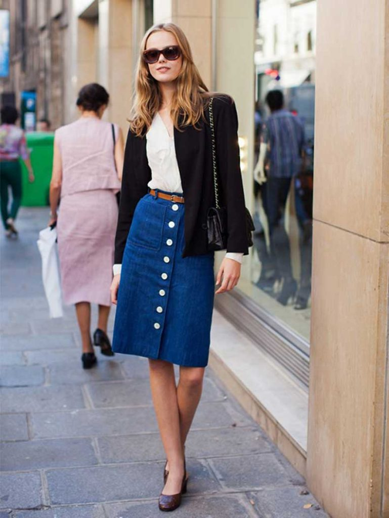 The button fronted denim skirt trend Via Stockholm Street Style