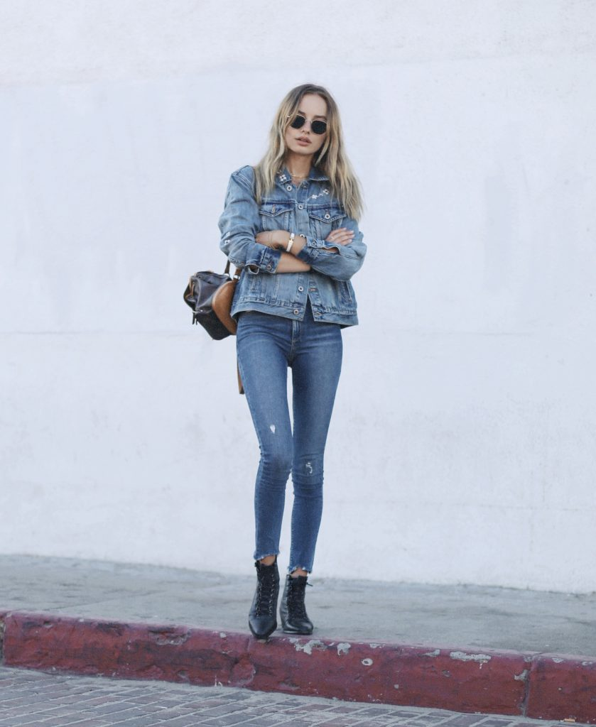 Double denim is an ultimate yes. Try pairing a slightly oversized jacket with jeans and achieve Sonya Esman's cool and casual September style. We love the aesthetic of this denim-heavy look!  Jacket/Jeans: Lucky Brand, Top: Brandy, Boots: Asos.