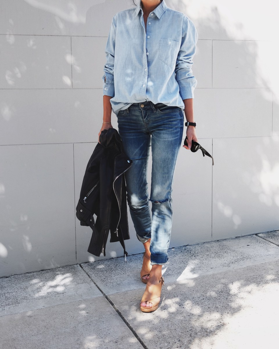 Denim on denim has long been a must-wear trend, bringing back retro vibes which we adore. Andi Csinger is rocking the look in an oversized boyfriend shirt and distressed denim jeans. Outfit: Uniqlo.