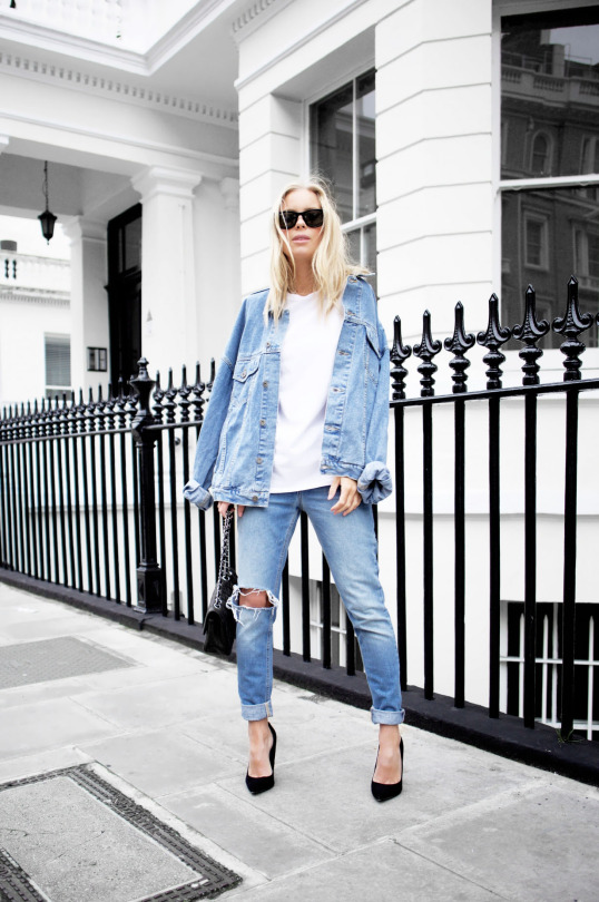 Victoria Tornegren demonstrates a classic double denim look here, which will make the perfect outfit for any every day outing. Wear rolled denim jeans with a white tee and a matching jacket to get this look! T-shirt/Jacket/Shoes: Asos, Jeans: Won Hundred.