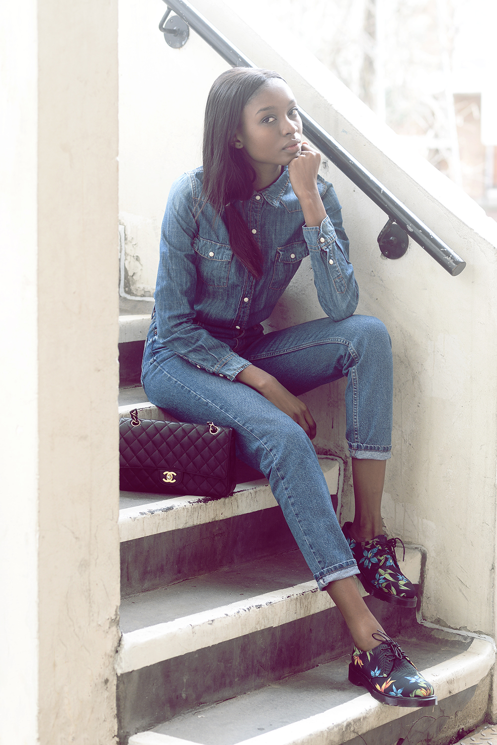 Denim On Denim Trend: Natasha Ndlovu is wearing a denim shirt from Forever21 and mom jeans from TopShop