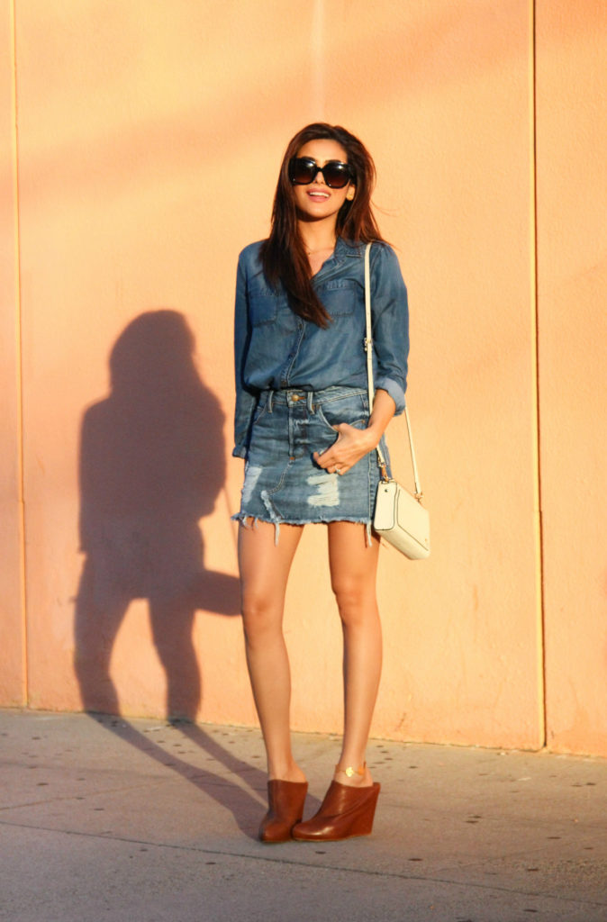Denim On Denim: Sazan Barzani is wearing a shirt from Halogen and the skirt is from Guess