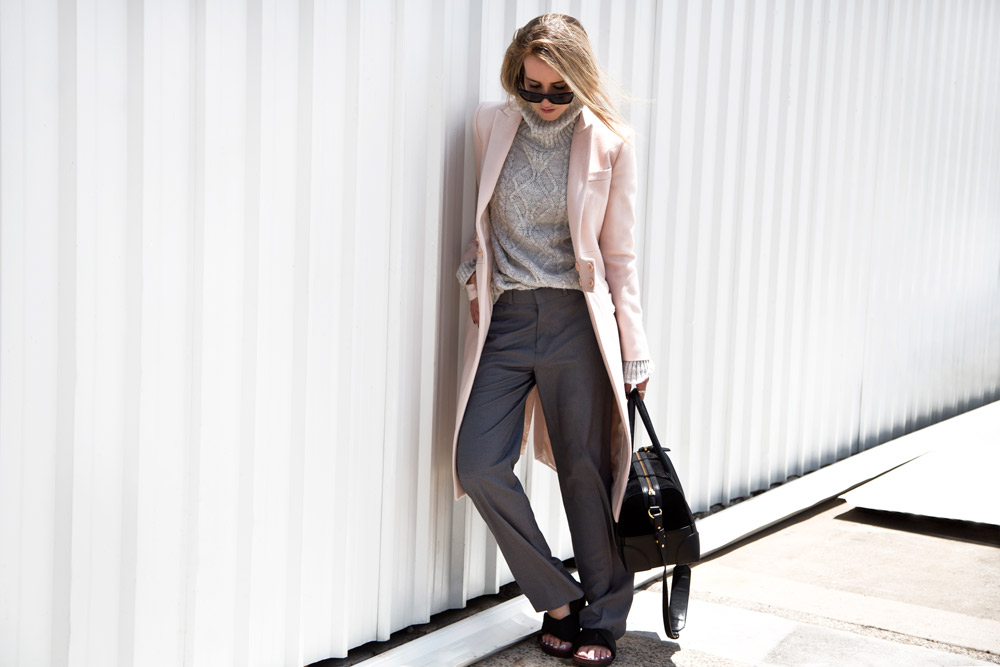Mandy Shadforth is wearing a blush pink Givenchy coat