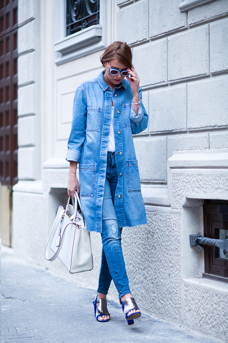 36da0c4f2cc Denim On Denim Outfits  Veronica Ferraro is wearing an Asos denim coat with  jeans from