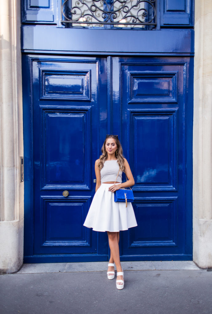 Striped Crop Top And Skirt: Kenza Zouiten is wearing a pinstripe white and navy Topshop cropped top