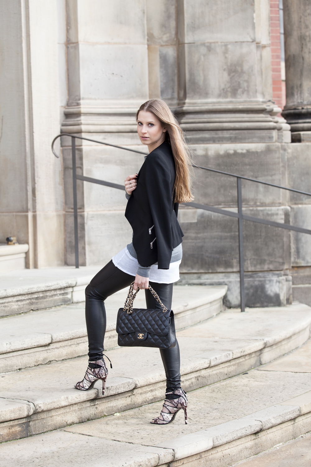 Via Just The Design: Alexa Carolin Thiele is wearing a black blazer and heels from Zara, Samsoe Samsoe leather pants and a Chanel handbag