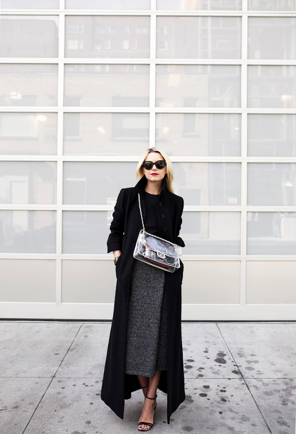 Wear your black maxi coat with a black crew neck jumper and a grey skirt Via Blair Eadie Skirt/Top: Club Monaco, Coat: Co., Shoes: ASOS. Bag: Chanel. Sunglasses: Prada