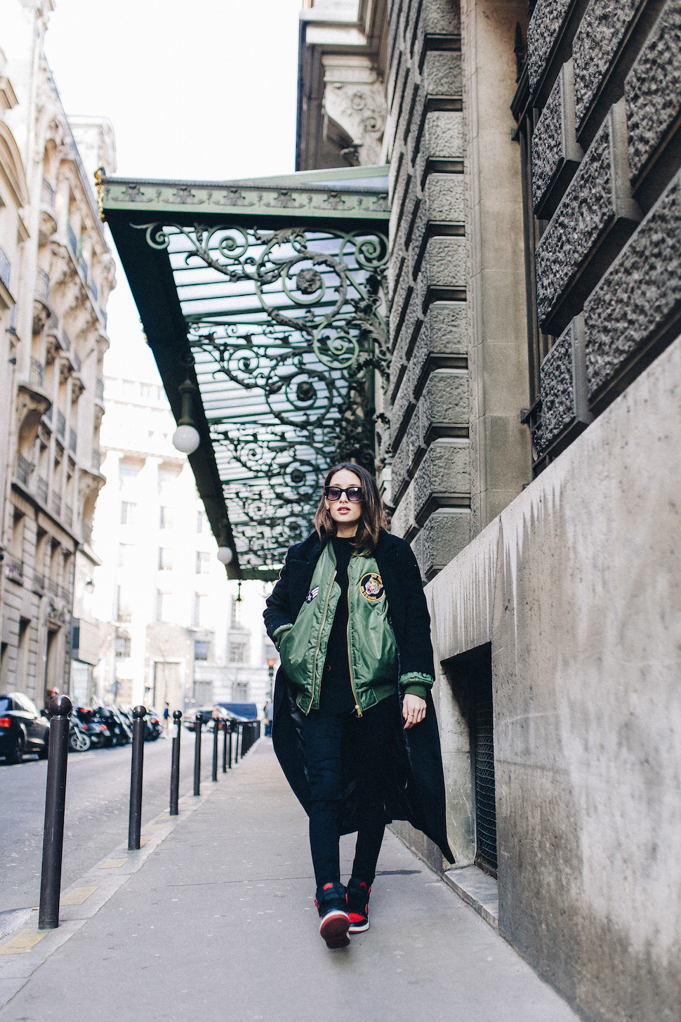 Alexandra Guerain is wearing a long coat from Asos