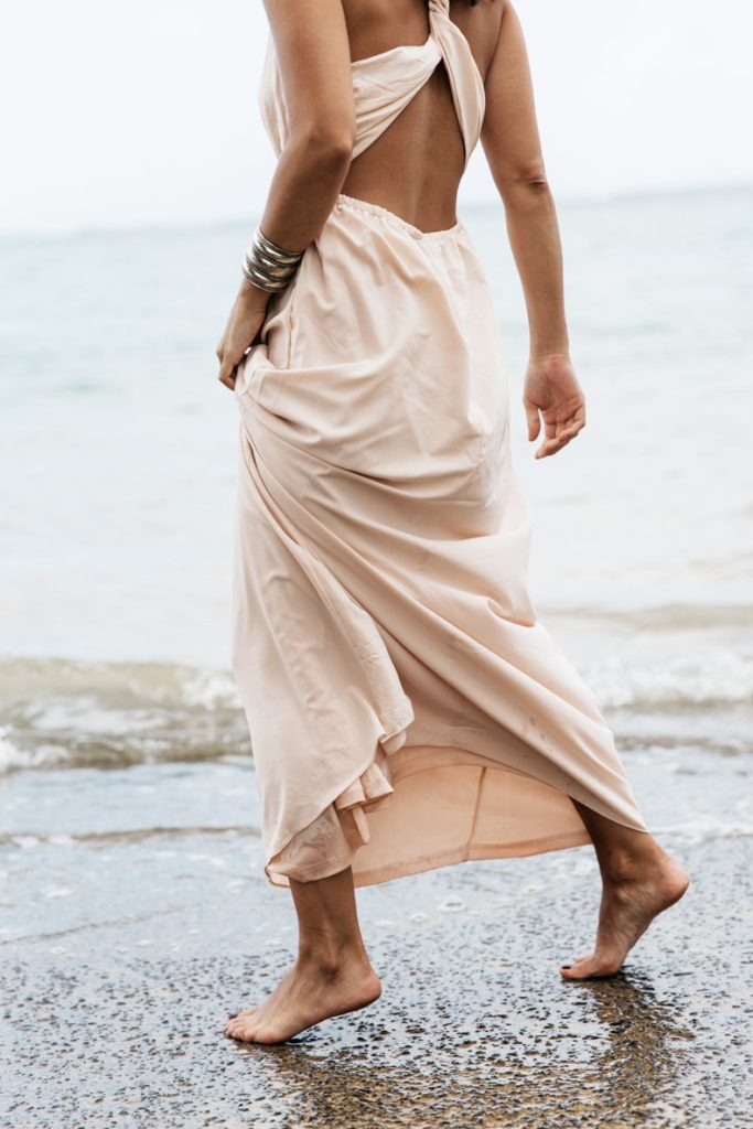Blush Pink Dress: Sara Escudero is wearing a Saboskirt maxi skirt