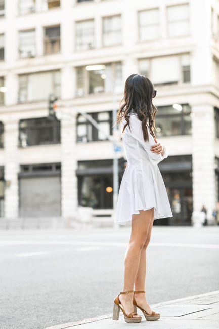 Wendy Nguyen is rocking the platform trend in this rustic style pair by M. Gemi. The tan colouration of these heels are a perfect match with this cute white dress; creating an unmistakably summer look which we adore! Dress: H&M, Bag: Chloe, Shoes: M.Gemi.