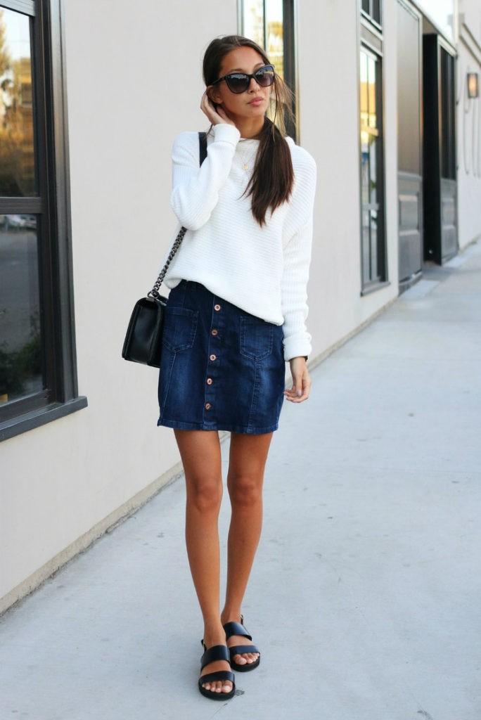 Street Style, March 2015: Felicia Akerstrom is wearing an A-Line denim button skirt from Esprit, white top from TopShop and the shoes are from Steve Madden