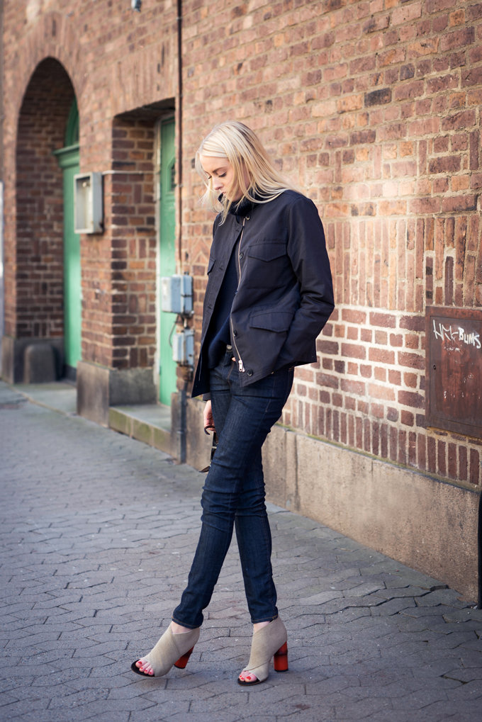Ellen Claesson is wearing a jacket from Hope, turtle neck from Filippa K, denim and heels from Acne Studios
