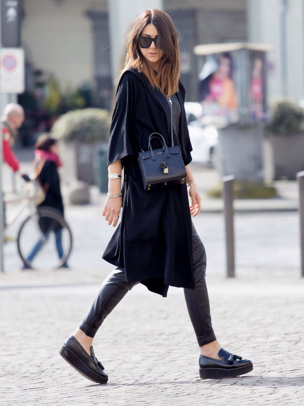 Platform Shoes Trend, 2015: Nicoletta Reggio is wearing black platform shoes from Mango