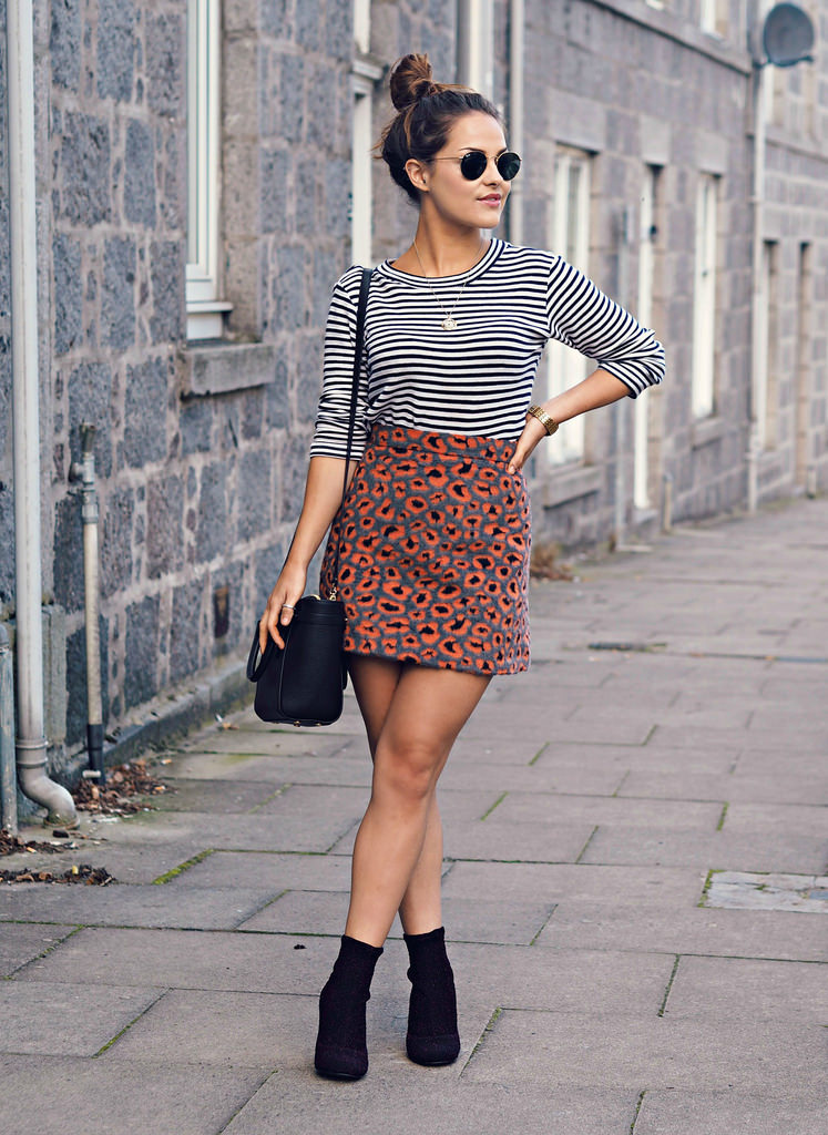 Amy Spencer pairs her cute striped number with a patterned skirt and some simple heels. Skirt: Topshop, Top: Urban Outfitters.