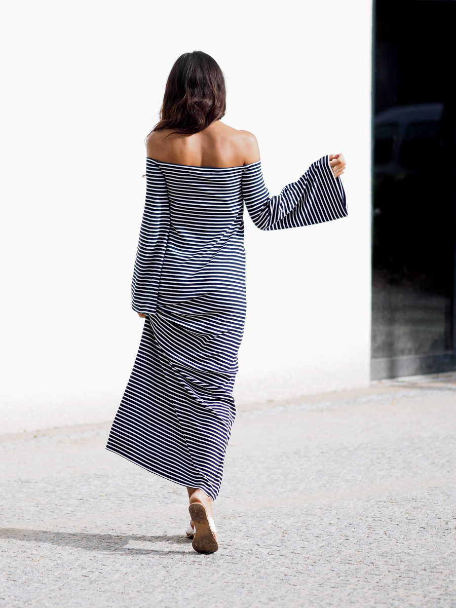 This striped off the shoulder maxi dress... Want it.Via Kayla Seah Dress: Edited By Maja