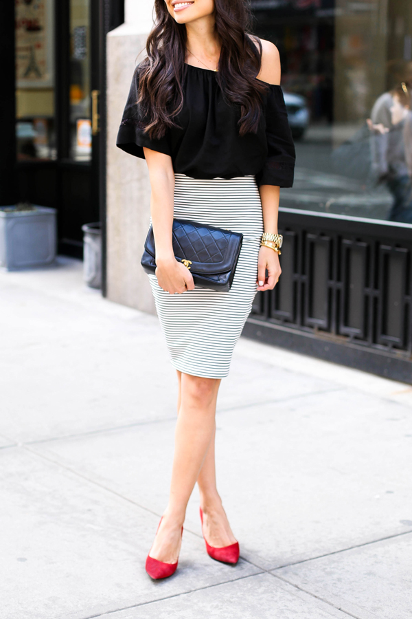 Kat Tanita is wearing a striped skirt outfit, top from Otte, skirt from Piperlime and red shoes from Stuart Weitzman