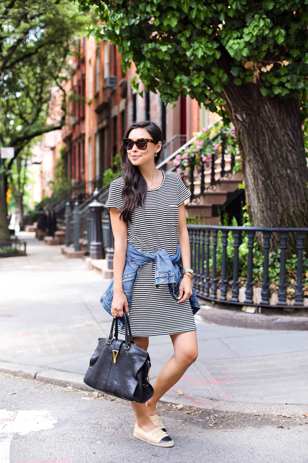 Striped Dress Outfit, 2015: This striped Courtina dress and those Espadrilles... Via Kat Tanita Dress: Joie, Denim Jacket: J. Crew, Bag: Yves Saint Laurent, Espadrilles: Chanel