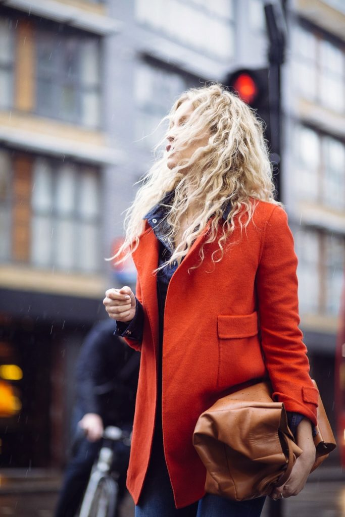 Orange Blazer Outfit Ideas: Anouk Yve is wearing a Zara jacket