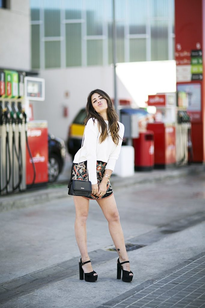 How To Style Platform Shoes: Aida Domenech is wearing a pair of black Jeffrey Campbell platform heels