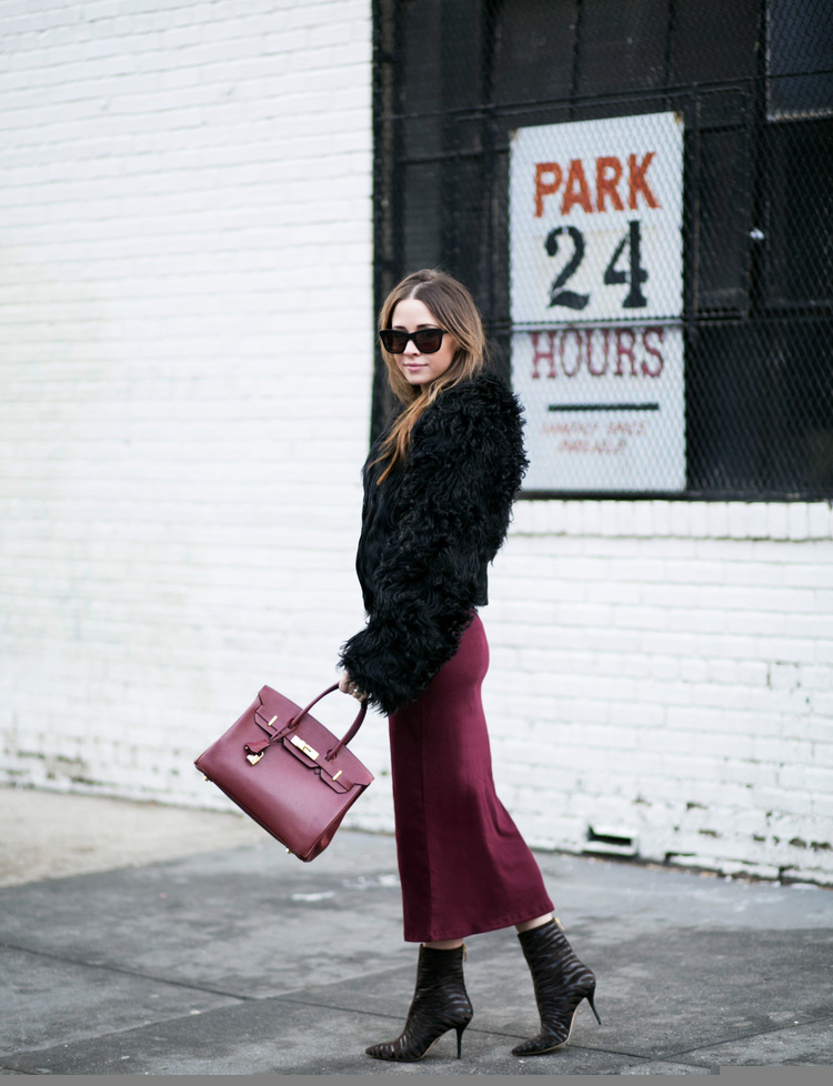 Street Style, March 2015: Bridget Helene Bahl is wearing a velvet marsala maxi skirt, with a black faux fur jacket and ankle boots