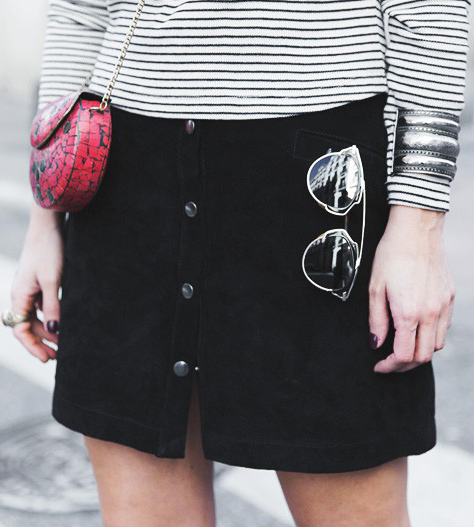 Sara Escudero is wearing a suede black button downed mini skirt