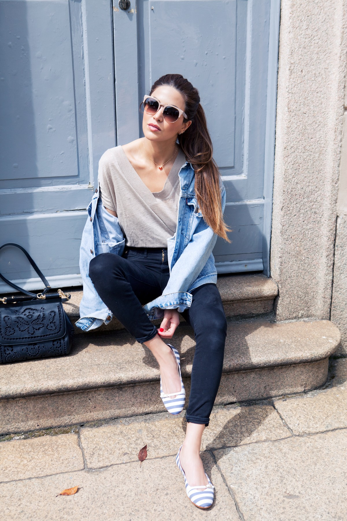 Denim On Denim 2015: Negin Mirsalehi is wearing a denim Levi vintage jacket with a pair of denim Black Lana skinny jeans