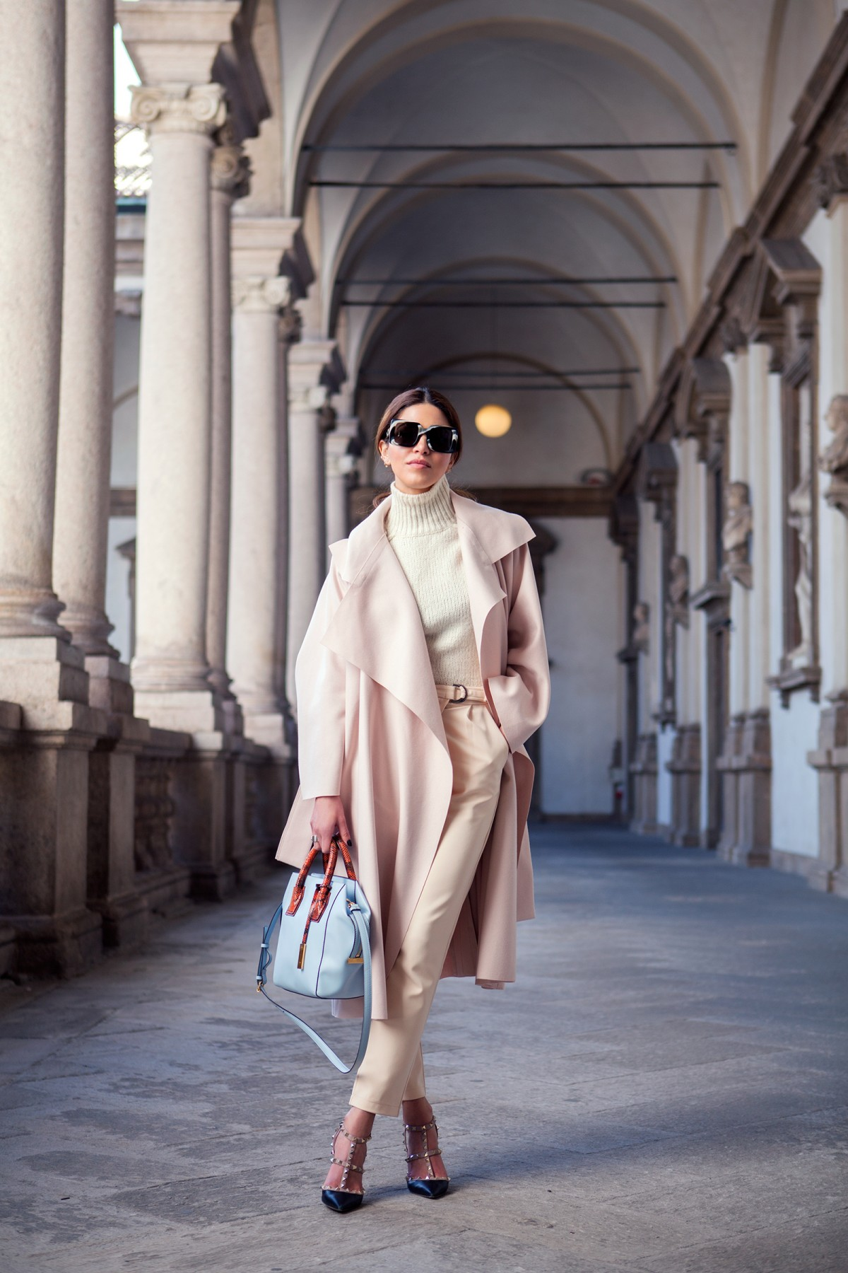 Negin Mirsalehi is wearing blush pink Avelon coat