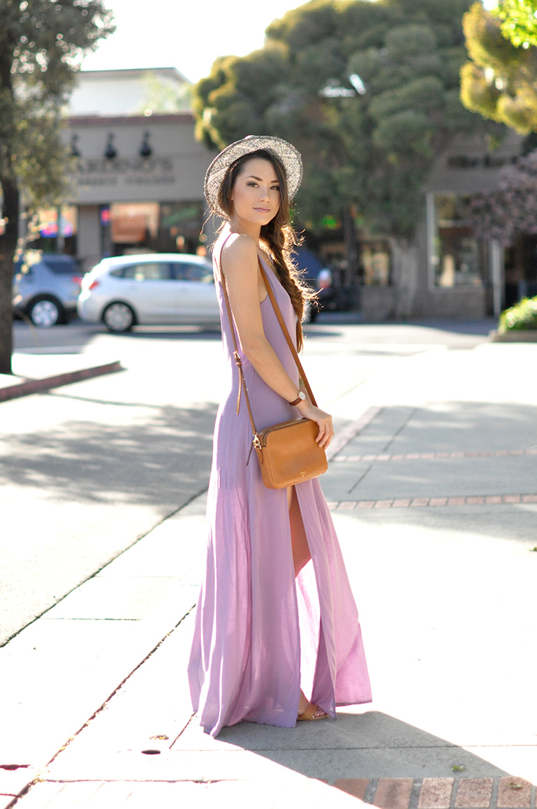 High Slit Maxi Dress: Jessica is wearing a lilac Tobi maxi dress with a high slit