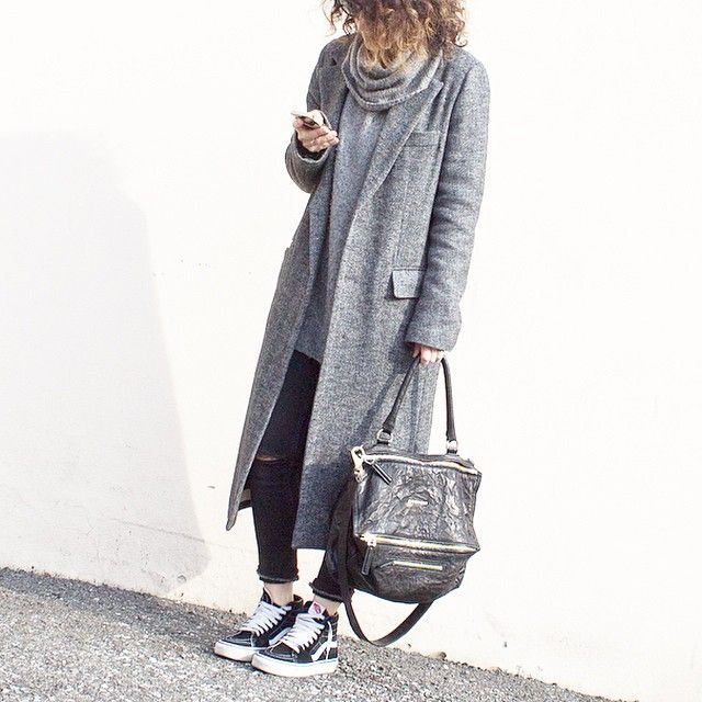 Instagram Fashion, March 2015: @pinkines is wearing an oversized ash grey trench coat with denim skinny jeans and Van sneakers