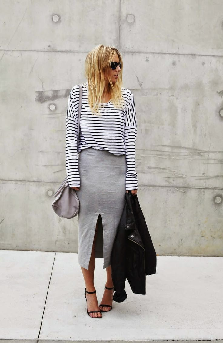 The pinstripe trend is shown off brilliantly via an unknown blogger