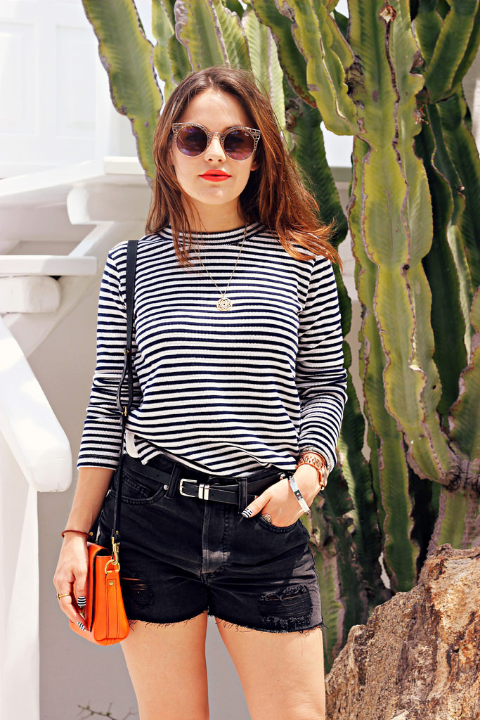 Amy Spencer shows us how to perfectly style a striped top with a black and white polo neck from Urban Outfitters