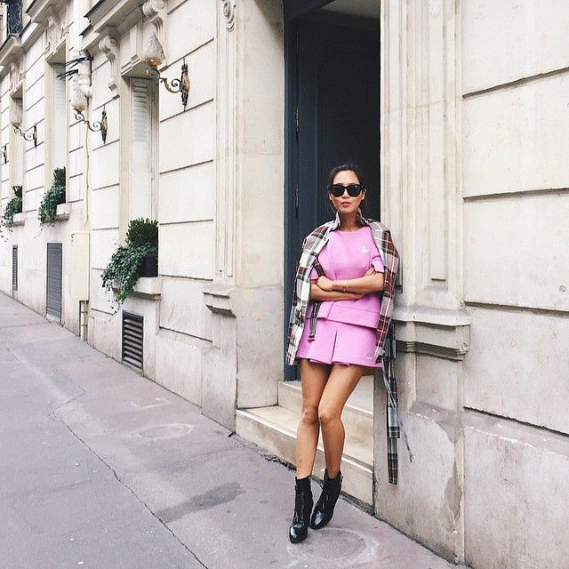 Instagram Fashion 2015: @songofstyle is wearing a pink dress with a plaid cardigan and black ankle boots