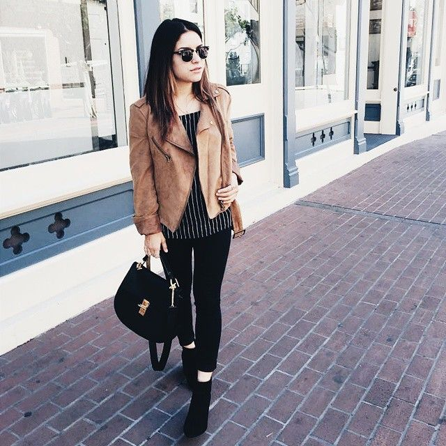Instagram Fashion, March 2015: Vanessa is wearing a camel suede jacket with a striped top, black skinny jeans and ankle boots