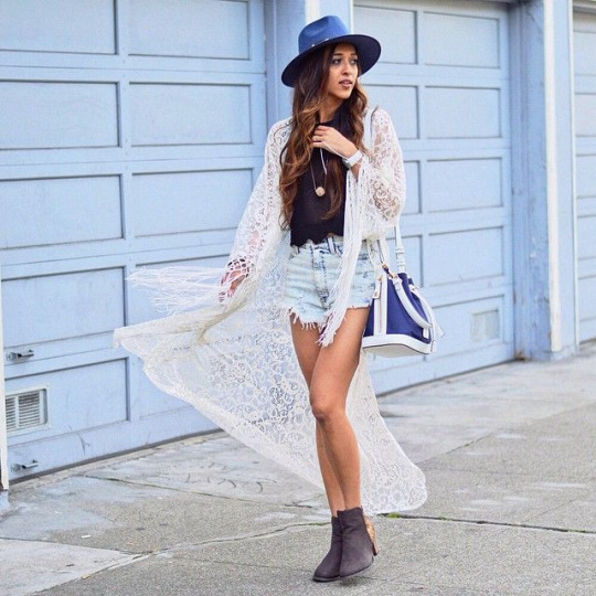 Instagram Fashion 2015: Jyotsna is wearing a sheer white overthrow with denim shorts and ash grey ankle boots