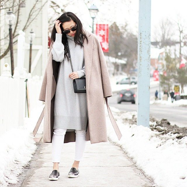 Instagram Fashion, March 2015: @thatsotee is wearing a beige maxi coat with an oversized pale grey turtleneck sweater and white trousers