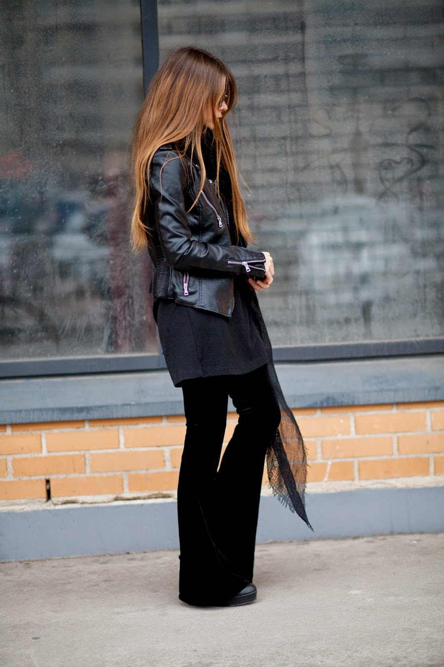 Wide Leg Trousers, 2015: Anna Vershinina is wearing black Nastydress wide legged trousers