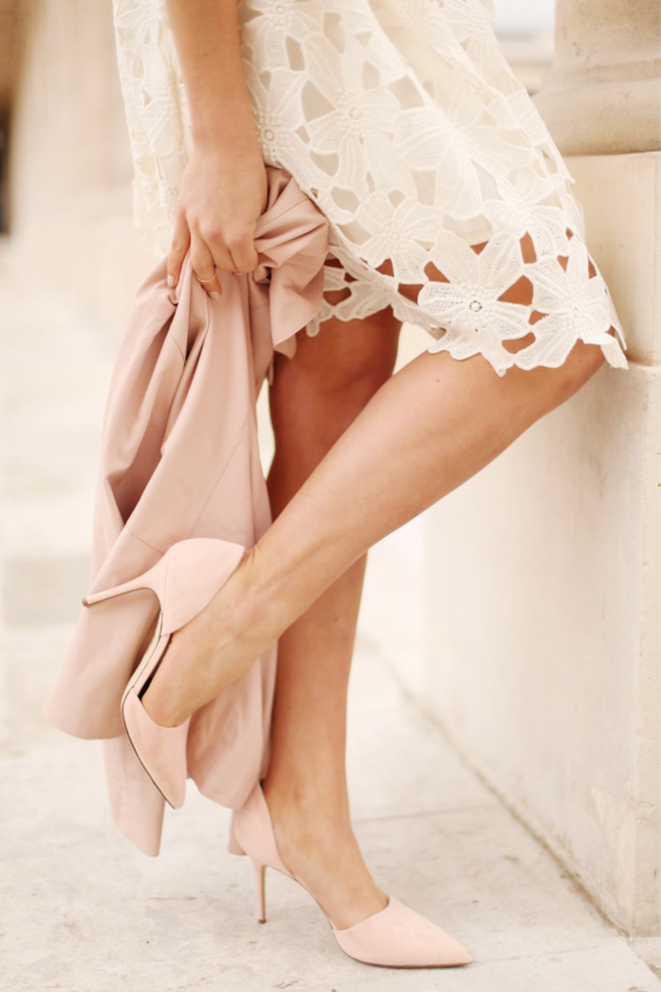 Blush Pink Shoes & Jacket: Audrey Leighton Rogers is wearing a Reiss blush pink leather jacket with a pair of J Crew heels