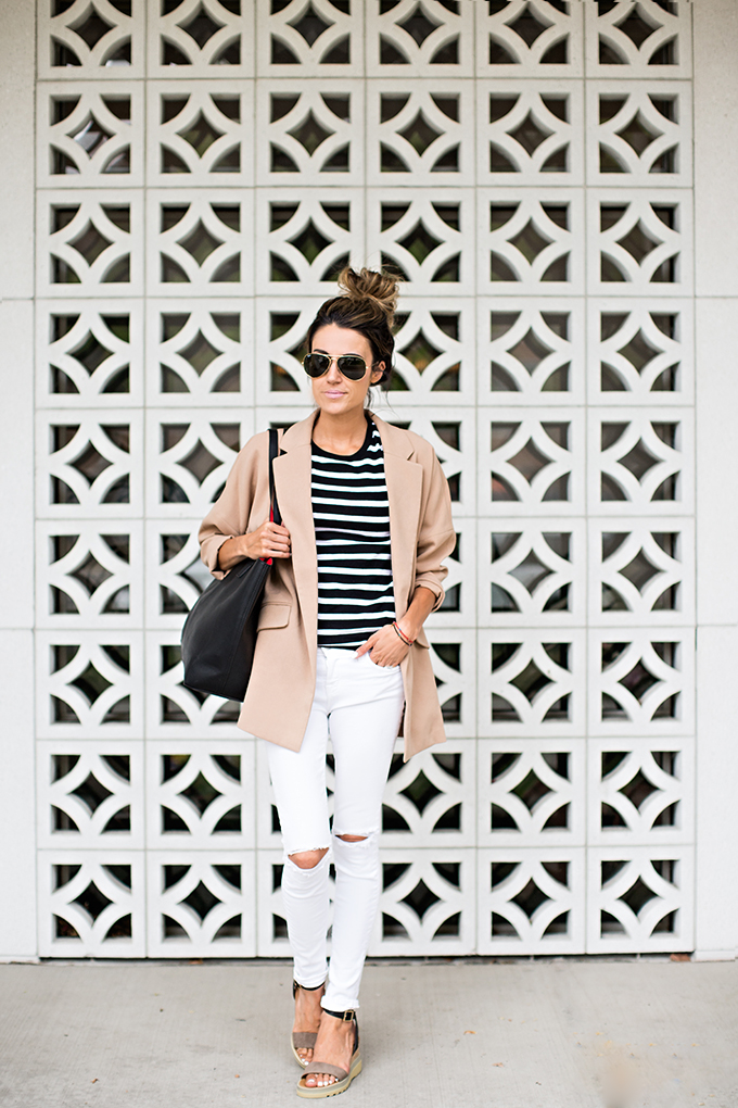 How To Wear A Striped Top: Christine Andrew is wearing a black and white Old Navy striped tee